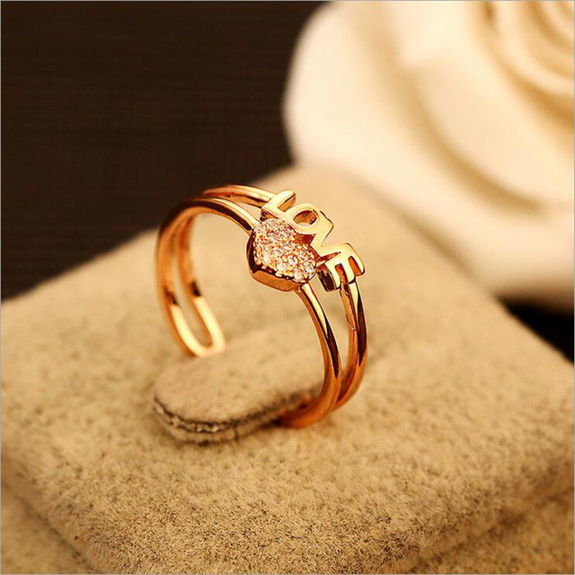 Ladies adjustable cubic zirconia heart shaped rings love for Gold ring models with letters