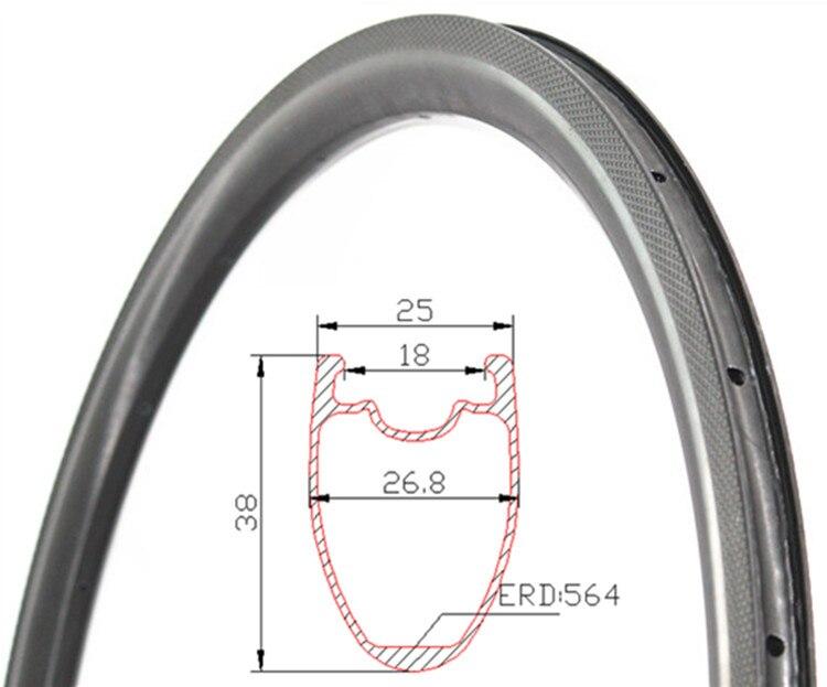 Special Braking 700C 38mm Depth 25mm Width Carbon Wheels Tubeless Road bike Aero rims Road Bike Carbon Bicycle Rims