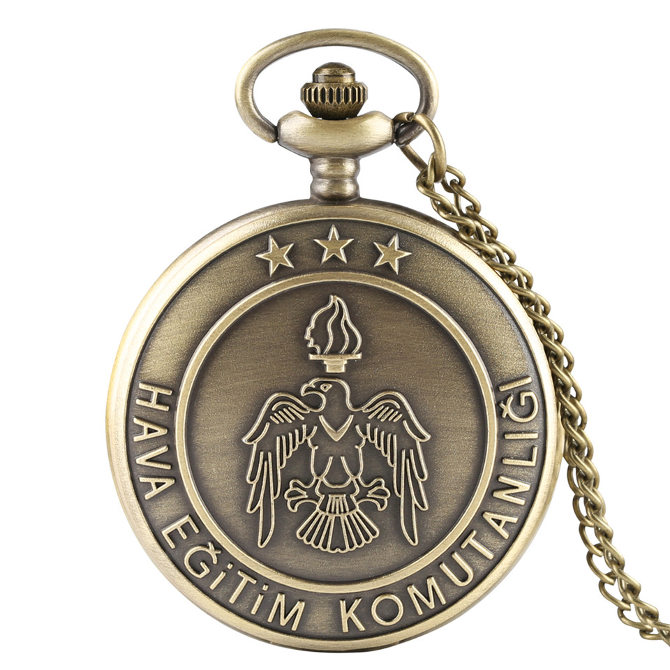 Bronze Eagle Pattern Quartz Pocket Watch For Fob Men Watches Turkish Air Training Command Clock With Necklace Pendant Boys Gifts