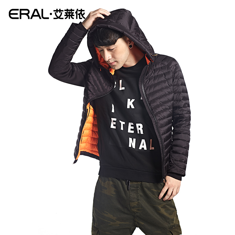 ERAL Mens Winter 2016 Solid Color Down Coat Male White Duck Down Casual Hooded Short Jacket ERAL19001-EDAA