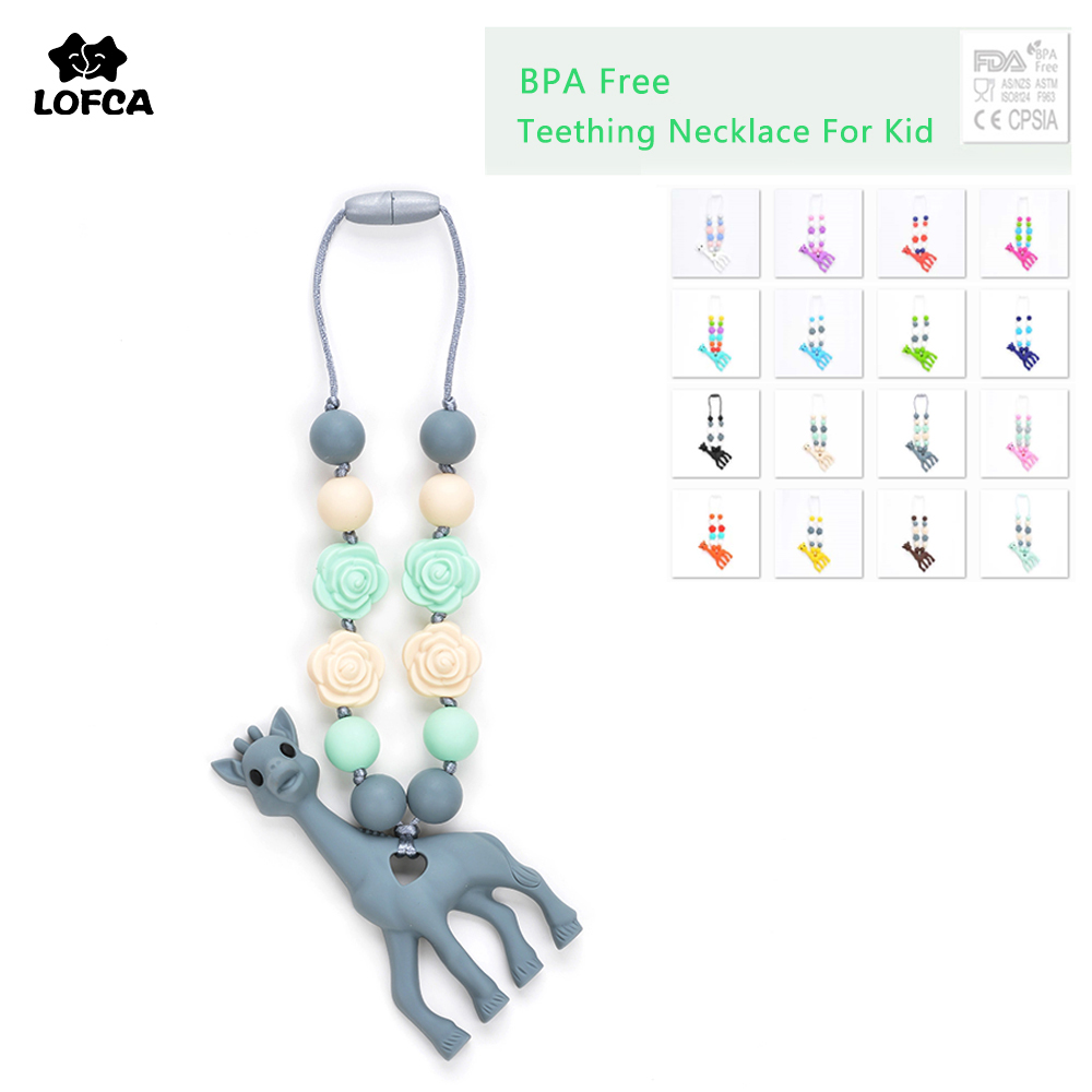 Silicone Teething Necklace For Kids Giraffe Teether Pendant Necklace Food Grade Baby Carrier Accessory Teething Toy tyry hu 1pc christmas tree shaped baby girl silicone teether rodents beads teething transducer pendant necklace food silicone