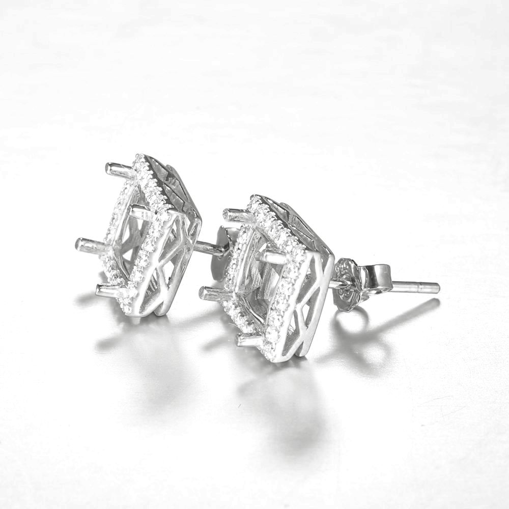 Sterling Silver 925 Plated White Gold Cubic Zirconia 6X6MM Princess Cut Earrings Women Engagement Wedding Fine Earrings Setting stylish silver plated cut out rhinestone heart earrings for women