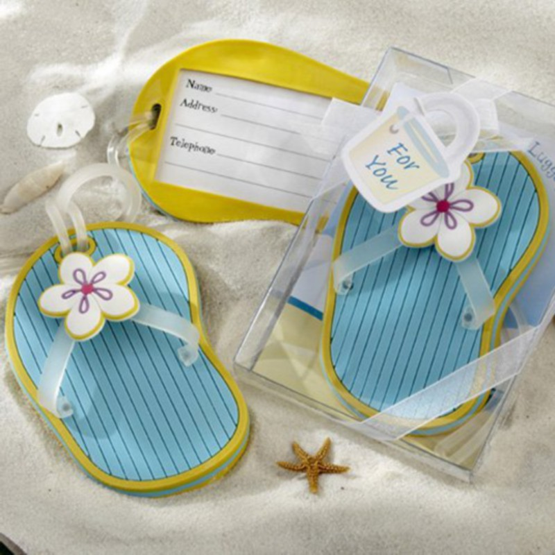 100pcs/Lot+Beach Themed Party Favors and Gift Rubber Flip-Flop Luggage Tags Bridal Shower Favor and Wedding Favors+FREE SHIPPING