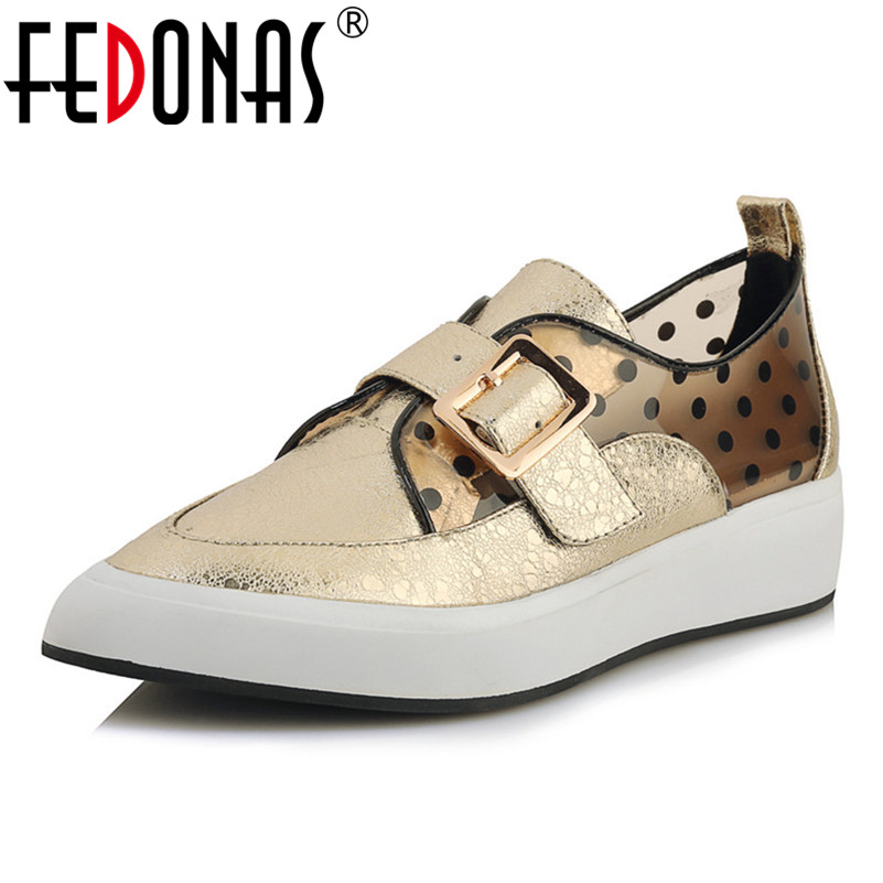 FEDONAS Blingbling bout pointu femmes chaussures mode femmes sans lacet appartements plates-formes décontracté chaussures femme automne chaussures en cuir véritable
