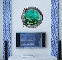 Ocean View Tortoise fish 3d Wall Sticker Bathroom Decals Sea Wall Art for kids Rooms DIY Home Decoration Underwater World