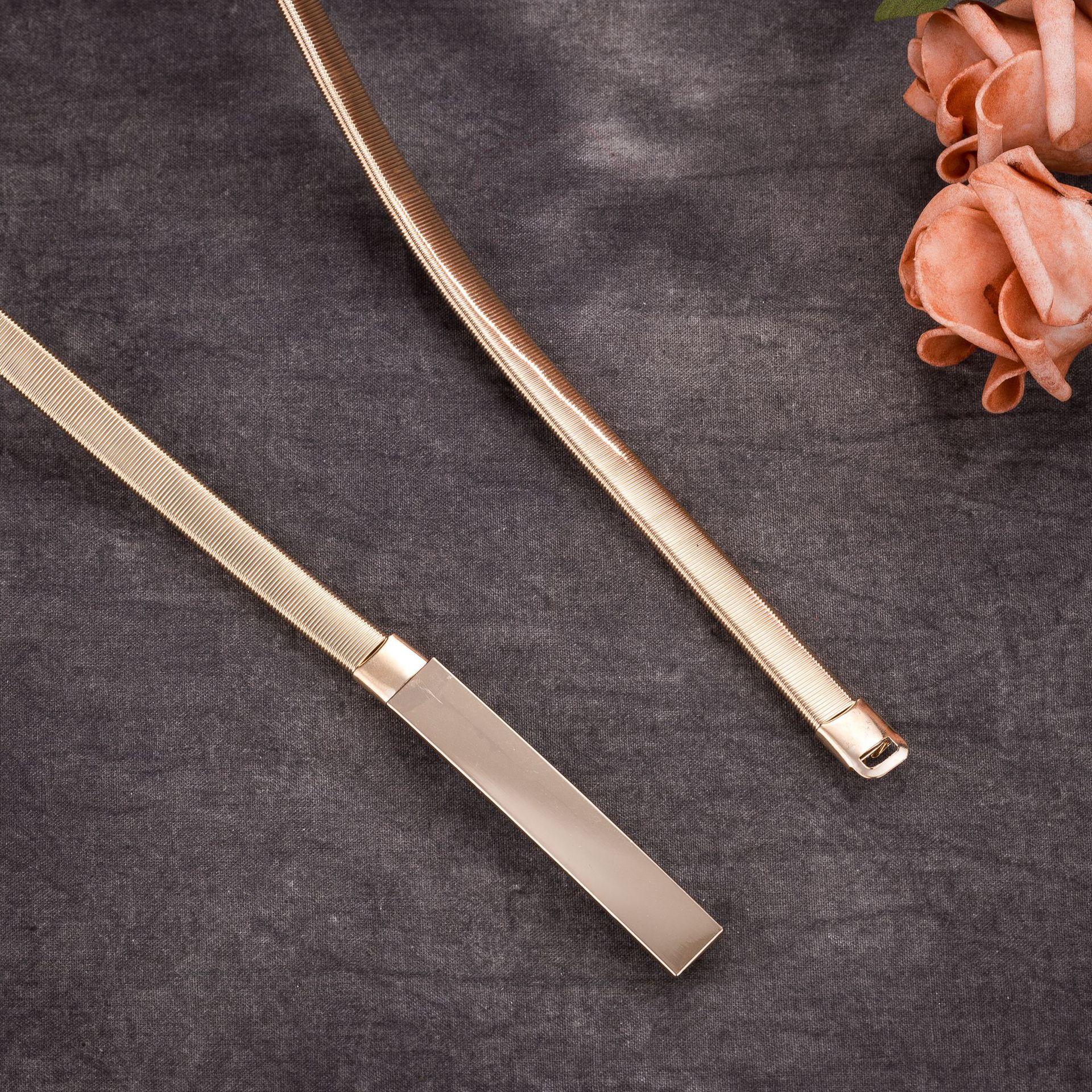 Metal Plate Belts For Women Designer Brand Women Skinny Belt Female Gold Silver Color Waist Chain Elastic Thin Cummerbunds