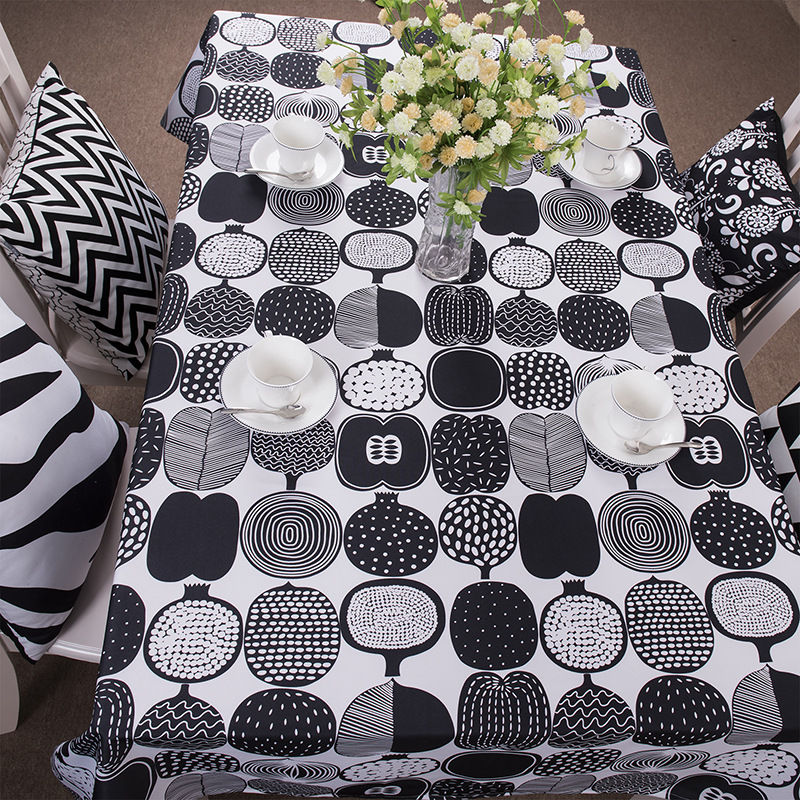 European styl fashion black and white geometric print table cloth 3 sizes free shipping