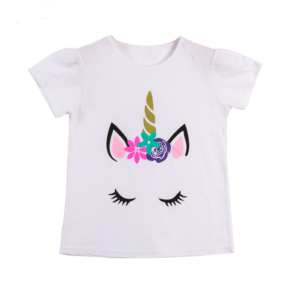 Girls Summer Tops Children T shirts Unicorn <font><b>Animal</b></font> Roupa Menina <font><b>Baby</b></font> Girl Clothes 2019 Brand <font><b>Baby</b></font> Girls <font><b>Tshirt</b></font> Kids Clothing image