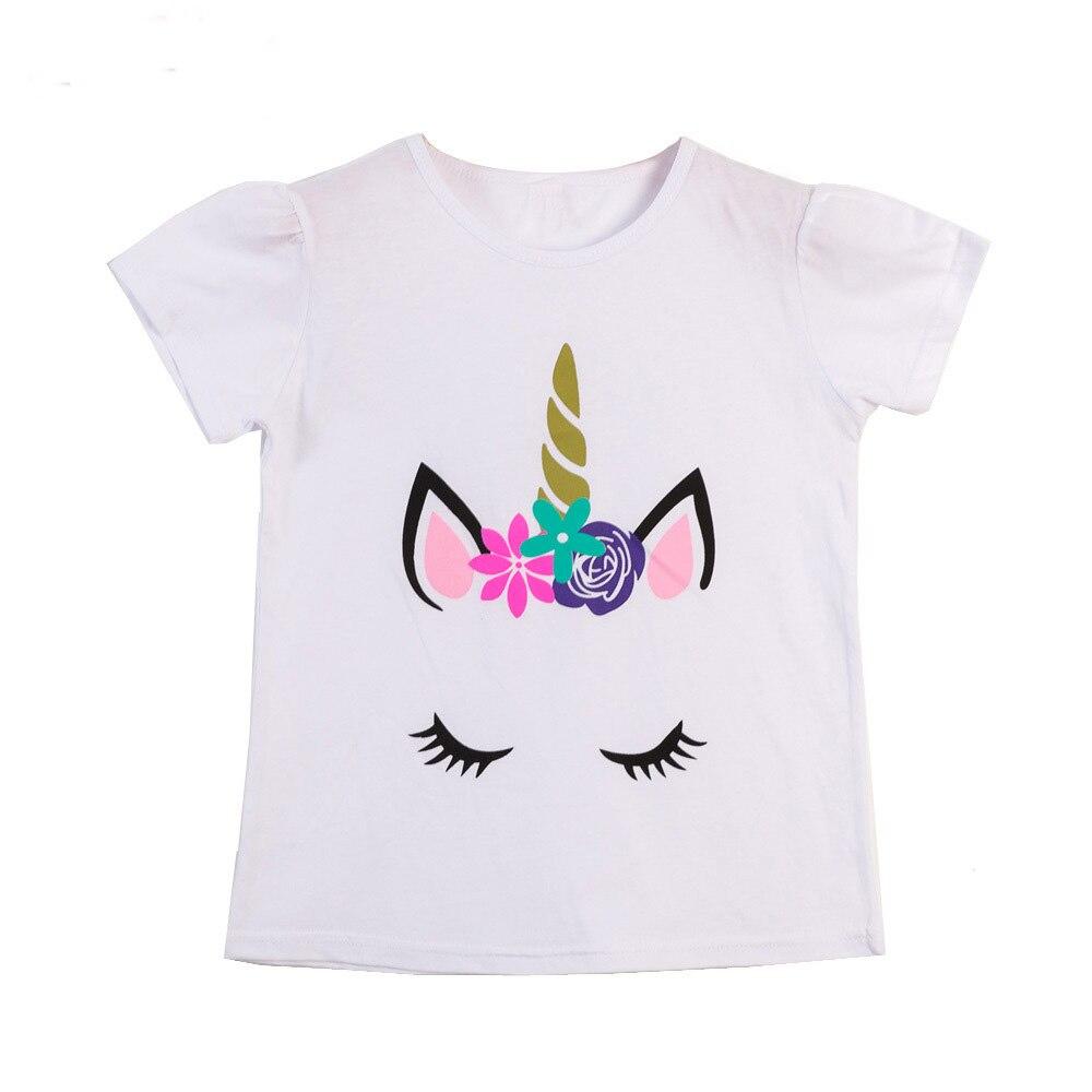 053c8df92 Niñas verano Tops niños T camisas unicornio ropa niña ropa de bebé niña