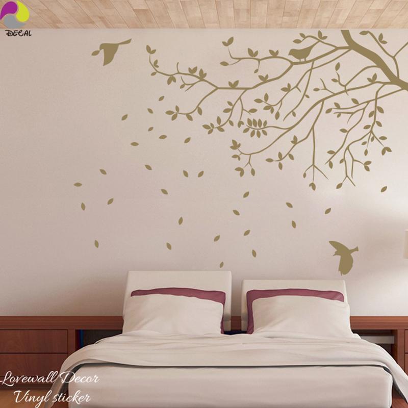 US $9.0 14% di SCONTO 120 cm x 88 cm Grandi Dimensioni Albero Uccello  Sticker Da Parete Camera Da Letto Camera Dei Bambini branch foglie vegetale  e ...