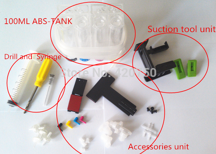 universal CISS DIY tools for Canon HP CISS with drill and Suction tool and all accessories