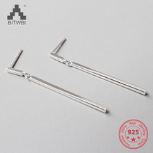 100% S925 sterling silver fashion simple geometric square earrings