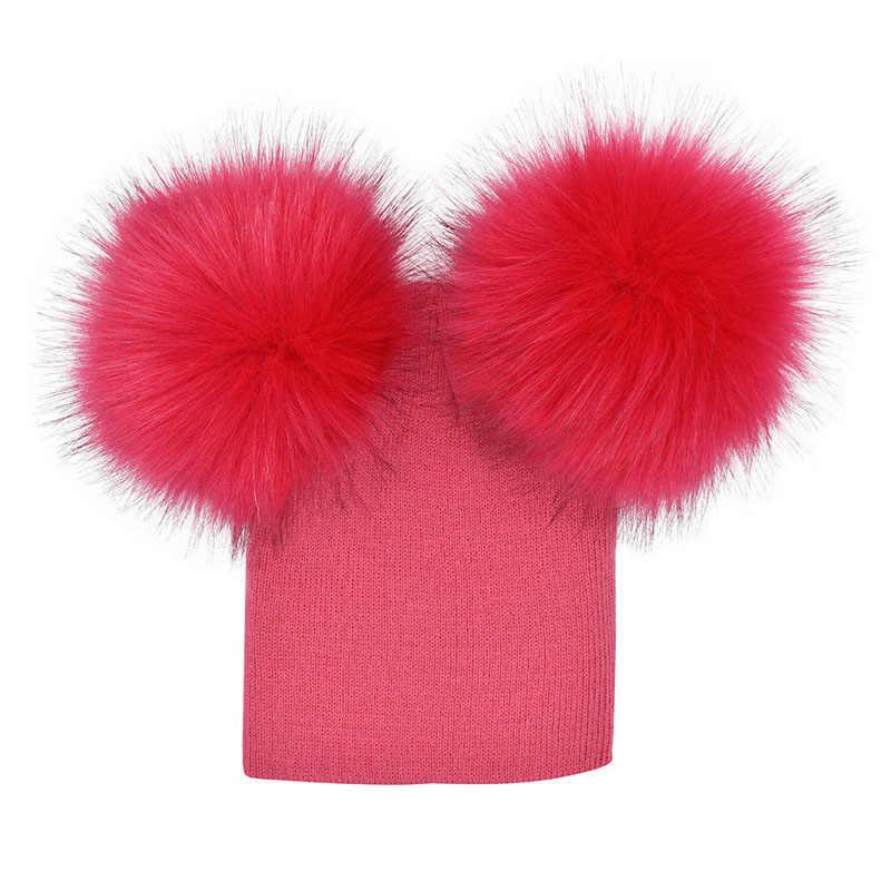 สหราชอาณาจักรหุ้นแฟชั่นน่ารักเด็กเด็กเด็กเด็กขนสัตว์ถักหมวกขนPom Pom B Obbleหมวกหมวก