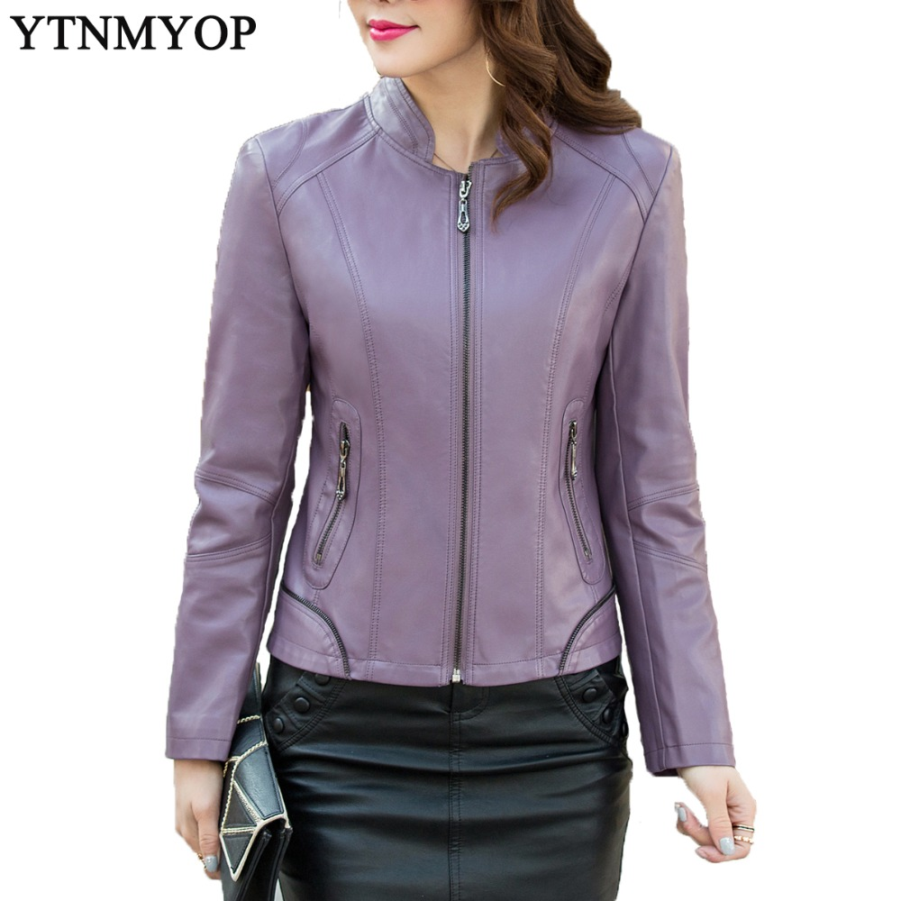 Women   Leather   Clothing 2018 Slim Purple Female   Leather   Coat Plus Size M-5XL Short Zipper Spring And Autumn Jackets Outerwear