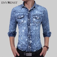 Envmenst 2017 New Fashion Style Autumn Men S Leisure Star Printed Long Sleeve Denim Shirts Men