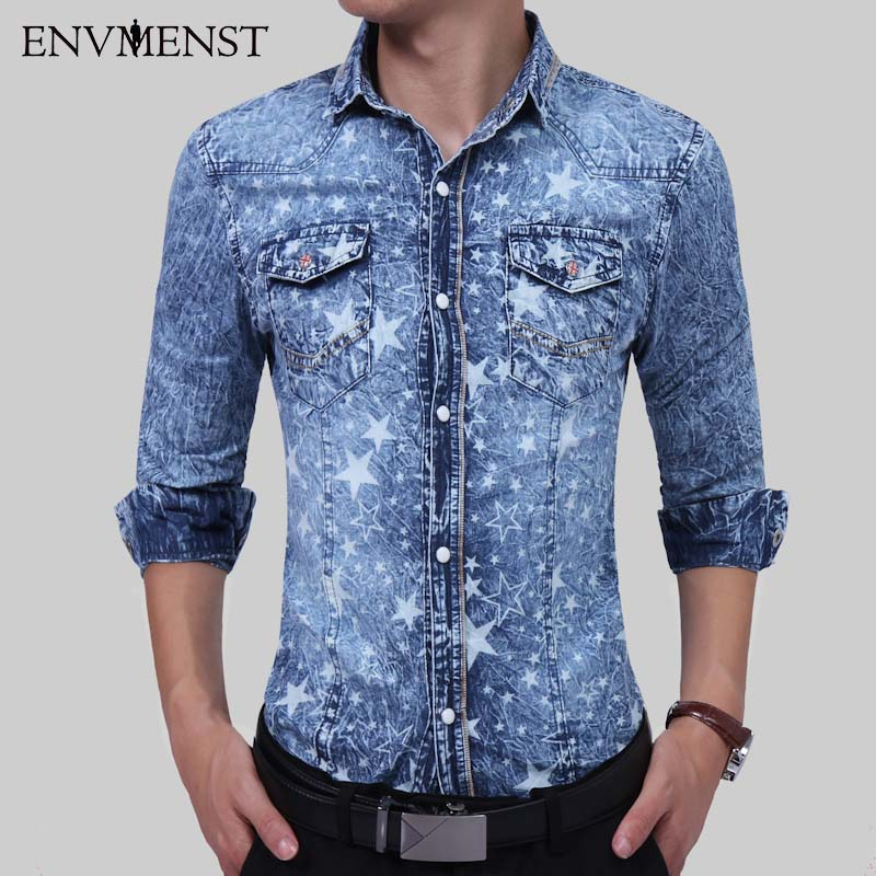 Envmenst 2017 New Fashion Style Autumn Men's Leisure Star Printed Long Sleeve Denim Shirts Men Turn Down Collar Denim Shirts