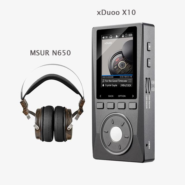XDUOO X10 HD DSD HIFI Reproductor de Música Audio 192 KHz/24bit DAP apoyo Reproductor de MP3 De Salida Óptica con MSUR N650 Auricular sin caja