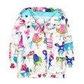 Autumn Winter Cute Baby Girls Coat Cartoon Animal Floral Graffiti Hooded Zipper Girls Jacket Full Sleeve Children Kids Outerwear