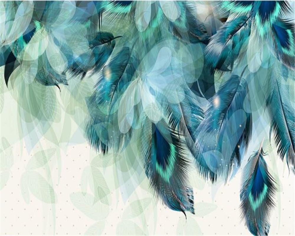 Купить с кэшбэком Beibehang Custom Wallpaper Large High Quality 3D Fashion Blue Feather TV Sofa Background Living Room Bedroom murals 3d wallpaper