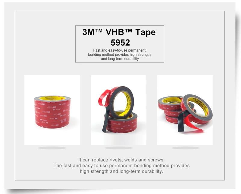 3 М VHB 5952 высокие липкие акриловая клейкая поролоновая лента/он может липкий к Стекло, металл и так далее Размер 12 мм* 33 м/5 рулонов/лот