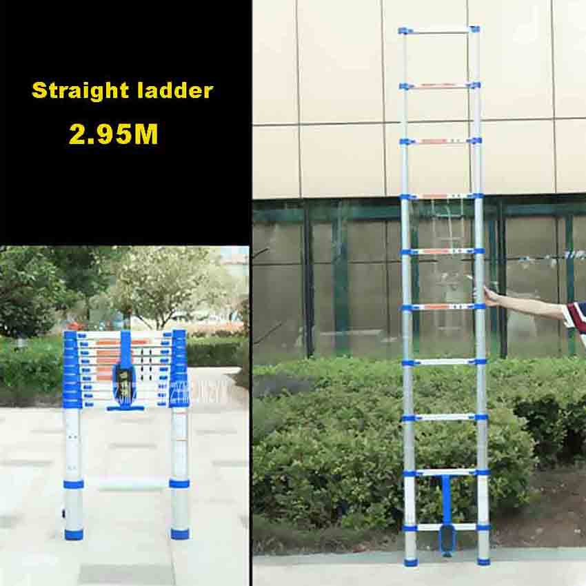 JJS511 High-quality Thicken Aluminium Alloy 10-Step Single-sided Straight Ladder Portable Household 2.95 Meters Extension Ladder