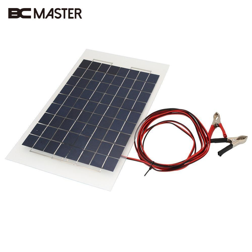 BCMaster New Portable Outdoor Energy Solar Panel DIY Battery Charger USB 10W 18V for Power Bank SupplyPack Car W/Crocodile Clips