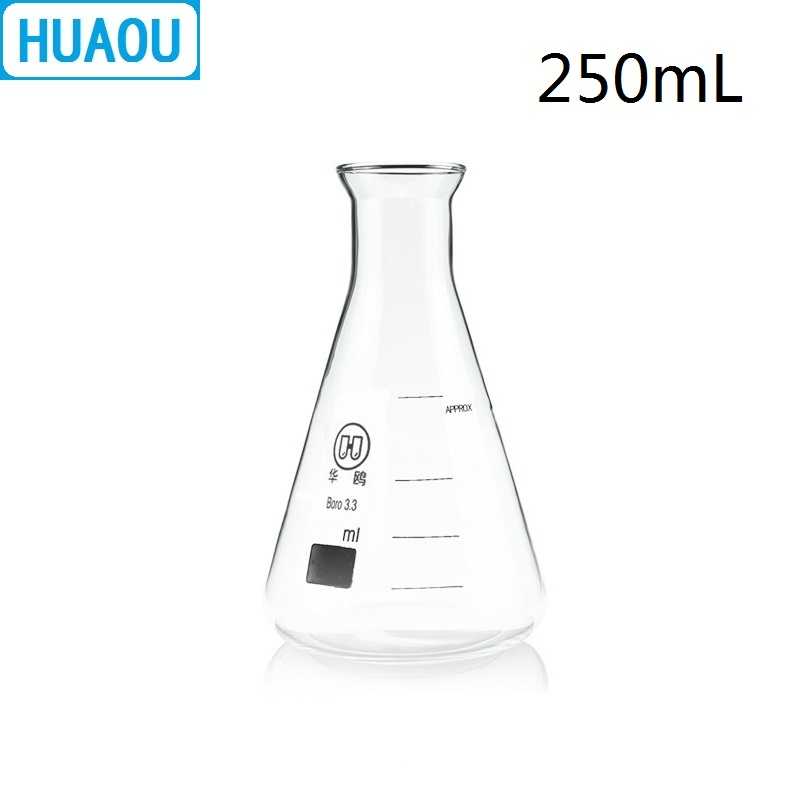HUAOU 250mL Erlenmeyer Flask Open Horn Bell Mouth Narrow Neck Borosilicate 3.3 Glass Conical Triangle With Graduaition