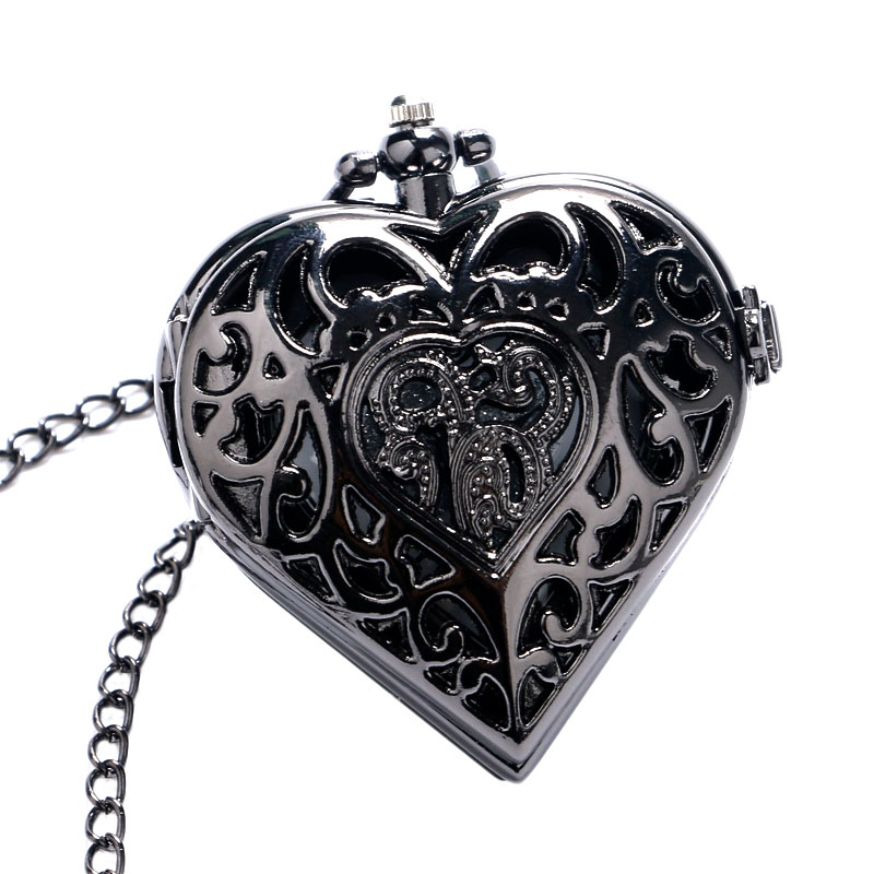 Elegant Black Hollow Heart Shape Quartz Fob Pocket Watch With Sweater Necklace Chain Gift To Women Girls
