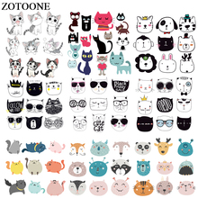 ZOTOONE Lovely Cats Ironing Transfers Heat Press Stickers Patches for Kids Clothes Animal Patch DIY Accessory Washable Appliques