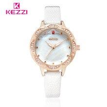 De lujo KEZZI Moda corte de cristal cuarzo de las señoras relojes vestido de las mujeres relojes mujer de cristal Romano ginebra Reloj de cuero impermeable