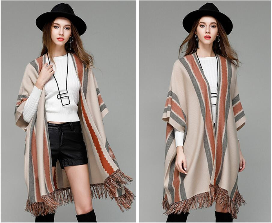 1fe179b231 KAVISSO Winter Women Loose Bohemian Style Batwing Sleeve Cape Coat 2017 Knitted  Cashmere Poncho Cardigan Tassel Stripe Sweaters