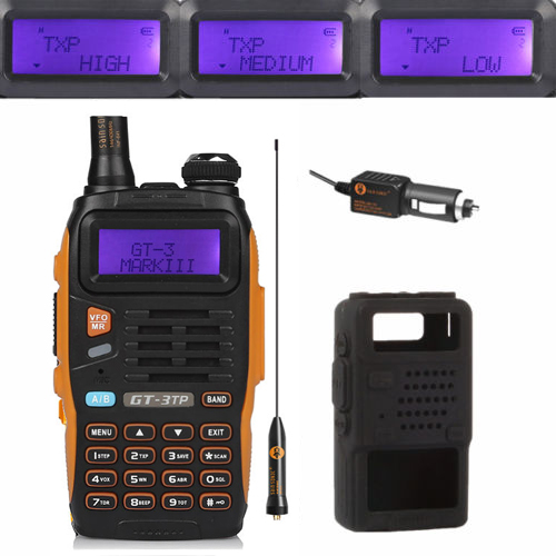 Baofeng GT-3TP MarkIII TP 1/4 / 8Watt High Power Dual-Band 136-174 / 400-520MHz skinke tovejs radio walkie talkie case bil oplader