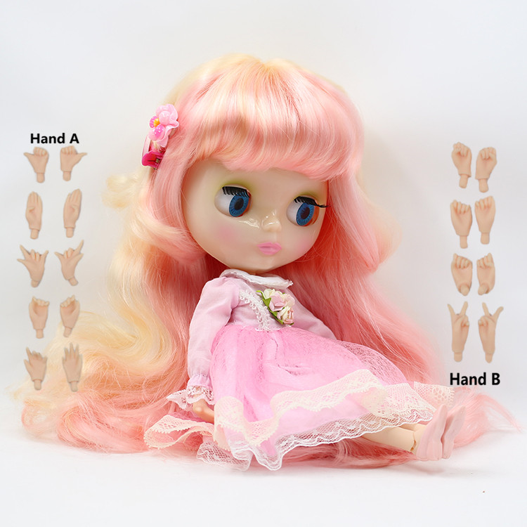 3131010 Pink golden Colorful Long Hair Normal joint Blyth Doll white skin Suitable For DIY Change