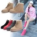 Alta Qualidade Mulheres Botas de Inverno Da Marca Casuais Sapatos Quentes Botas de Pele De Couro De Pelúcia Botas Sapatos Da Moda Mulher