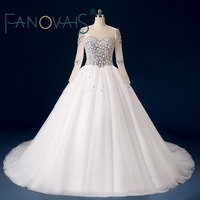 ASA Real Photos Pearls Beaded Court Train Wedding Dresses With Long Sleeves Lace Up Back Tulle