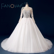 Real Photos Pearls Beaded Court Train Wedding Dresses with Long Sleeves Lace-up Back Tulle Bridal Gown robe de mariage