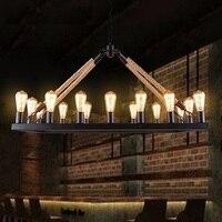 IWHD 16 головок Ретро лампа железа подвесной светильник Стиль Лофт Промышленные Винтаж подвесные светильники кафе бар Lampen пеньковая веревка с