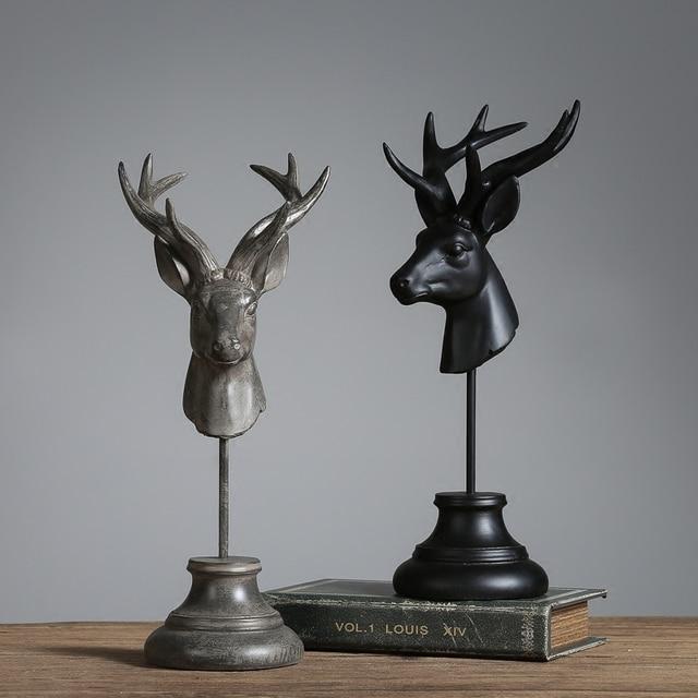 Retro And Nostalgic Home Garden Decor Crafts Vintage Resin Deer Head Figurine Black Miniature For House
