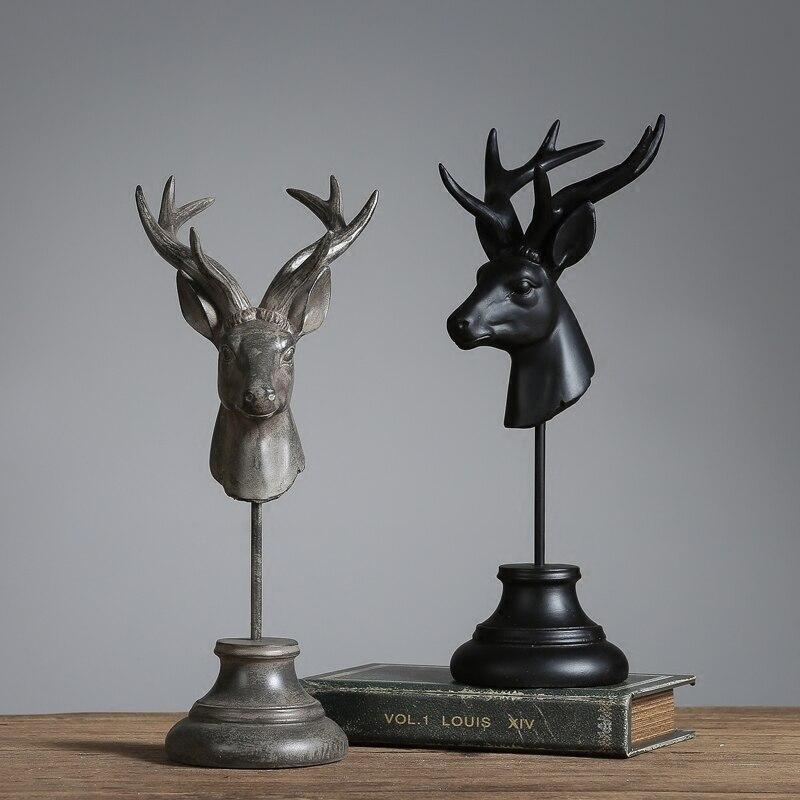 Vintage décoratif tête de cerf résine Figurines Animal table Miniature pour Maison Hogar bureau Bar décoration Maison décor Statues