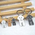 Free shipping 100% stainless steel poodle key pendant send birthday gift to a friend of 10 a bag of wholesale price