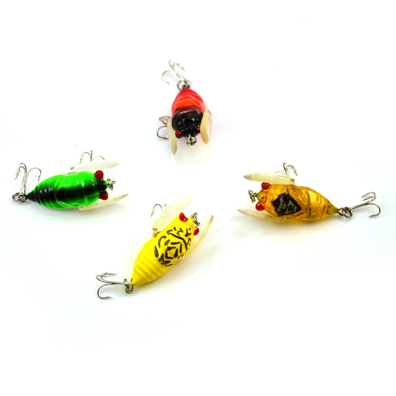1Pcs Random Color Insect Cicada Artificial Baits Fishing Lures Bass Crank baits 4cm 6.4g, Free Shipping аксессуары для косплея random beauty cosplay