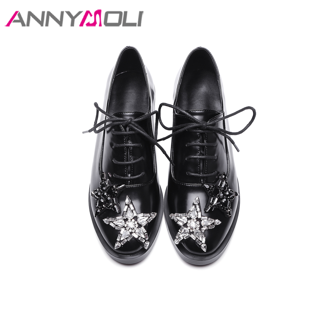 ANNYMOLI Women Shoes Crystal Stars Oxfords Shoes Flats Black Lace Up Shoes Spring Round Toe Flats Casual Shoes Female Size 33-43 plus size 34 41 black khaki lace bow flats shoes for womens ds219 fashion round toe bowtie sweet spring summer fall flats shoes