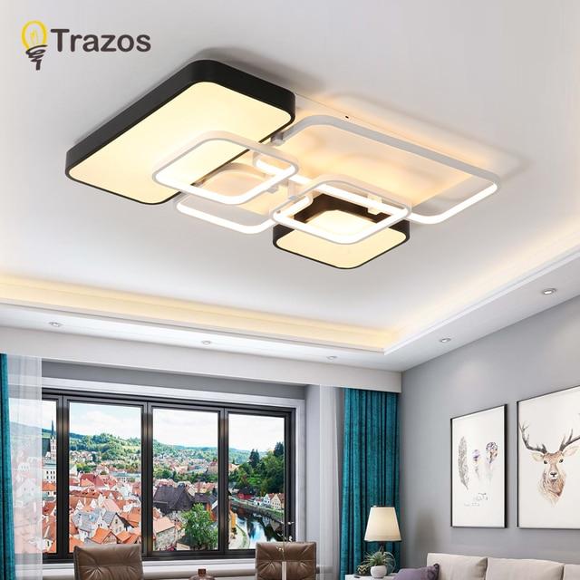 TRAZOS ectangle Acrylic Aluminum Modern Led ceiling lights for living room bedroom AC175-265V White Ceiling Lamp Fixtures