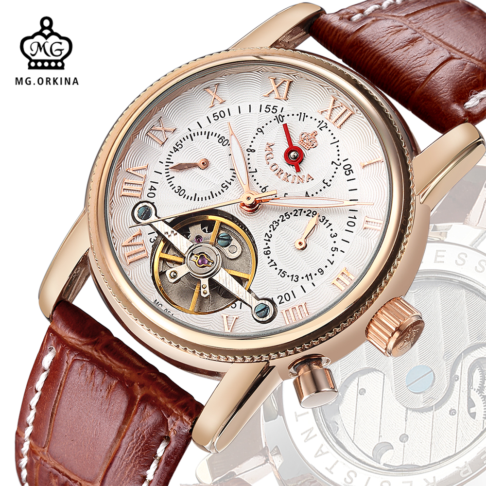 MG. ORKINA Mens Watches Luxury Rose Gold Case orologio uomo Auto Date Month Day Automatic Mechanical Man Watch Kol Saat