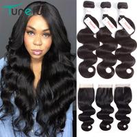 Peruvian Body Wave   Hair   Bundles   With     Closure   Tuneful 100% Non Remy   Hair   Natural Color Human   Hair     Weave   3 Bundles   With     Closure