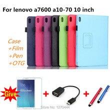 Para Lenovo A10-70 A7600 10.1 Litchi PU leather cases smart stand cubierta de la capa para para Lenovo tab a10-70 a7600 Tablet fundas caso