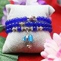 6mm Prevalent Blue Chalcedony beads Crystal Natural stone Bracelet hand chain for women girls Pendant Gourd Tibet Silver