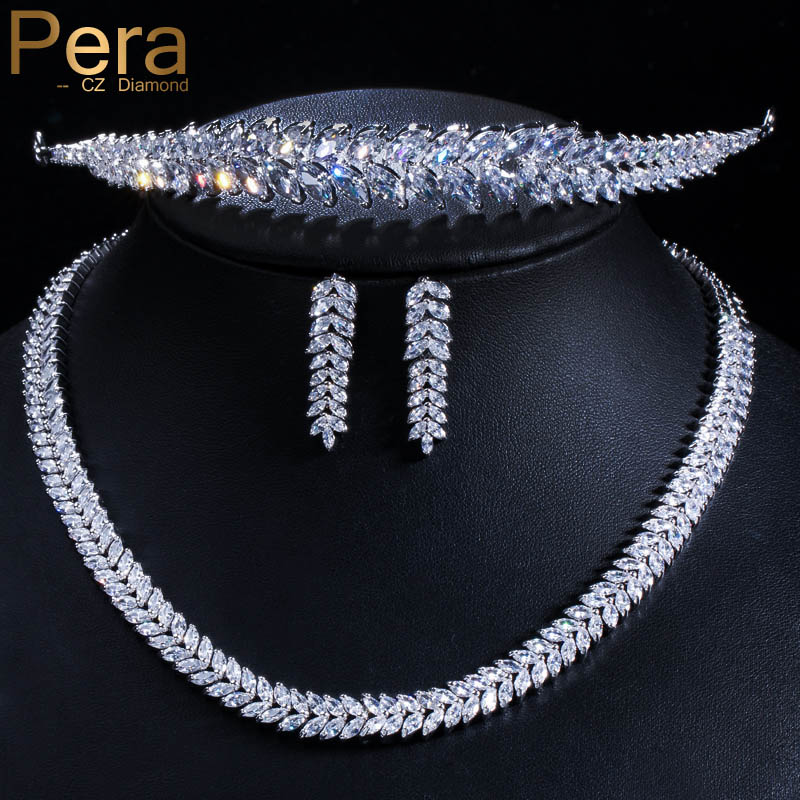 Pera Sparkling AAA Cubic Zirconia Marquise Shape Necklace Earrings Wedding Tiara Hair Bridal Jewelry Accessories For