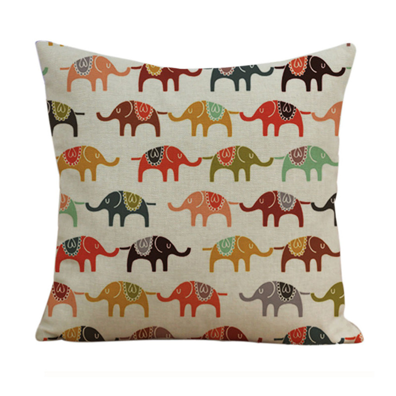 New South Asia elephant pillowcase cover Retro vintage animal pattern cushion case pillow slip 45*45cm drop shipping on sale