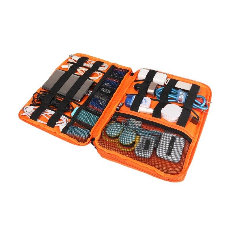 BUBM שכבה כפולה אוניברסלי נסיעות מארגן ציוד/שקית אביזרי אלקטרוניקה/סוללה מקרה מטען אפור/ורוד/כחול